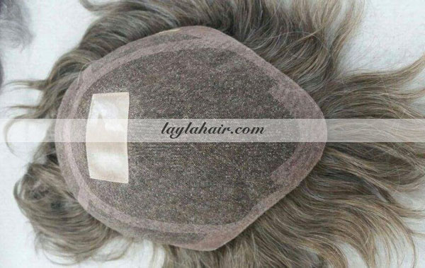 Human Hair Grey Toupee man-laylahair