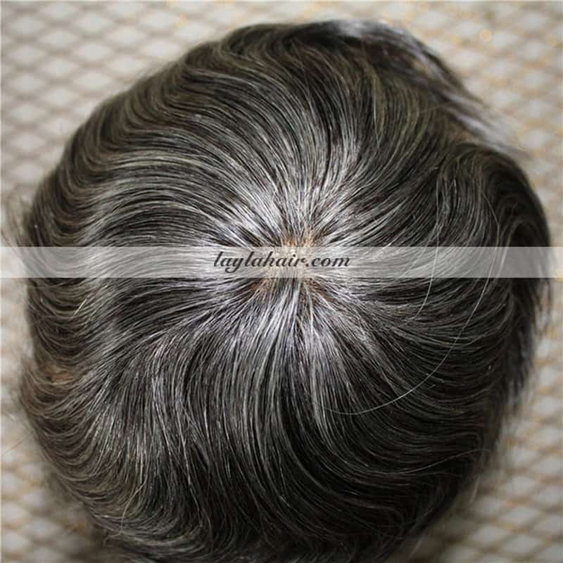 8 Inch Vietnamese Men Gray Hair Toupee