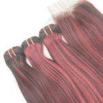 "Set of Closure and Bundles Pink Hair 12"""